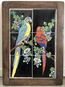 Catalina Tile Company Antique Valentino Parrots Oak Frame 6-Tile Wall Art Mural