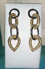 "Ross Simons 18k yellow gold vermeil sterling silver cz 2"" long dangle Earrings"