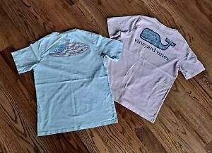 Vineyard Vines Short Sleeves T- Shirts Girl's Size M (12-14) Blue/Pink (Lot of 2