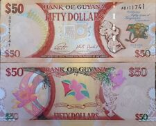 GUYANA 2016 50 DOLLARS UNC 50th ANNIVERSARY BANKNOTE P-NEW FROM A USA SELLER !!!