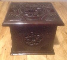 18TH CENTURY ALMS BOX WITH CARVED CELTIC KNOT DESIGN
