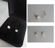 WOMENS LADY EARRINGS WHITE GOLD 18K 1,20GR DIAMOND 0.40 CT BOUCLES D'OREILLES OR