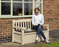 Banco de Jardín con Cajón Almacenamiento Mueble Exterior Patio Porche de Resina