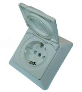 Außen Steckdose weiß mit Deckel - Unterputz Steckdose IP44 VDE GEPRÜFT Pollmann