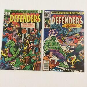 LOT OF 2 MARVEL COMICS THE DEFENDERS #24 & #57 HULK Ms MARVEL UNGRADED