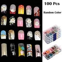 100Pcs Set of One Box False Acrylic Gel French Nail Art Tips Salon Random Color