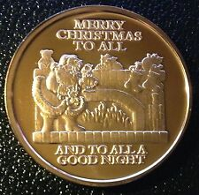 1 OZ .999 COPPER CHRISTMAS ROUND - SANTA BY FIRE PLACE w/ SNOW FLAKE REVERSE