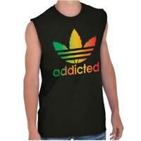 Addicted Stoner 420 Weed Athletic Marijuana Sleeveless T Shirts Tees Tshirts