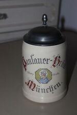 Paulaner Bräu München, Schutzmarke, Bierkrug 0,5 l mit Zinndeckel