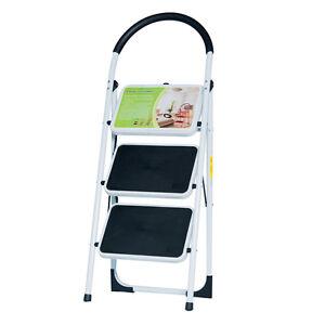 EN131 Folding 3 Step Ladder Lightweight 300 lb Capacity Anti-slip rubber feet