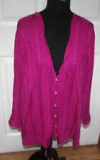 Ralph Lauren Black Label Orchid Pink Open Knit Cotton Blend Cardigan Sweater 3X
