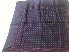"vintage silk blue red  circles dots silk handkerchief scarf italy 18.5"""