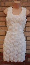 AX Paris White Ruffle Roses Front Satin Back Pencil Tube Bodycon Tea Dress 8 S