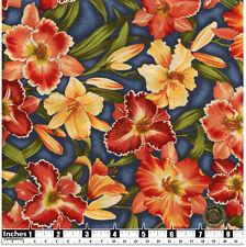 Quilting Fabric Orange Lilies Dk Blue Background Fat Quarters 100% Cotton