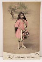 RPPC Adorable Girl Pretty Pink Dress Flowers Hand Colored Photo Postcard C4
