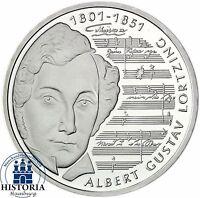 BRD 10 DM Albert Gustav Lortzing 2001 Silber Stempelglanz Münze in Münzkapsel