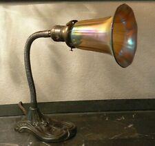 New listing Art Deco gooseneck desk lamp cast Iron w Gold iridescent Glass shade Art Nouveau