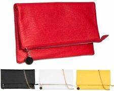Zip Patternless Clutch Bags with Inner Pockets