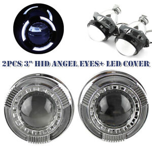 "3"" Car Round LED Light HID Angel Eye Projector Lens Headlight w/Cover Lampshade"
