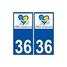 36 Indre autocollant plaque immatriculation sticker nouveau logo région Centre V