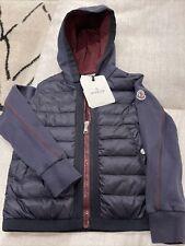 NEW Moncler Boy Navy Blue Hooded Sweatshirt Jacket Cardigan, Size 8