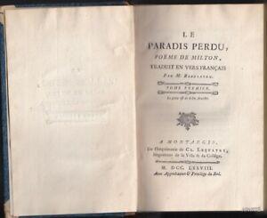 MILTON Le Paradis perdu poème Montargis 1778 Beaulaton