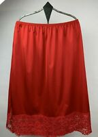 Vintage Vanity Fair Womens Nylon Half Slip Lace Hem Side Slit Red USA Size Large