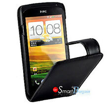 Premium BLACK Flip Leather Case Cover for HTC ONE S + Screen Protector