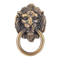 vintage lion head furniture door pull handle knob cabinet dresser drawer ring LY