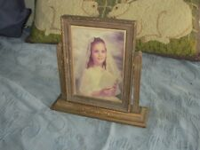 Vintage Art Deco Standing Swing Picture Frame & Photo of a Young Girl, 5 by 7 In