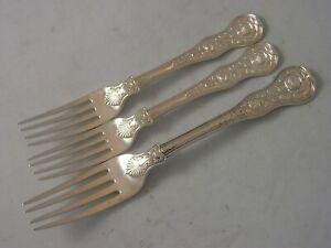 Heavy WE WF Georgian London 1821 Silver Set 3 various Forks 261 gram ROSE fancy