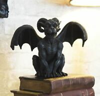 """Crouching Ram Horned Gargoyle Statue in Faux Stone Finish Resin 6.25"""" Tall"""