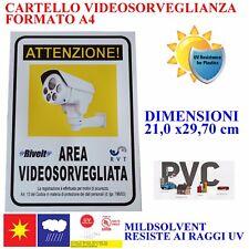 CARTELLO TARGA AREA VIDEOSORVEGLIATA SOTTOPOSTA A VIDEOSORVEGLIANZA 21 X 30 CM