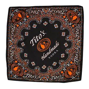 Tito's Handmade Vodka Bandana Scarf Mask Handkerchief 21x21 Black Orange Paisley