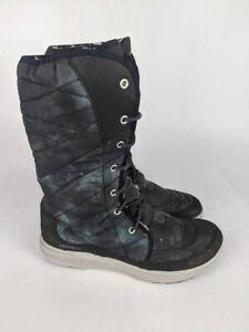 Merrell Womens Pechora Peak Winter Boots Gray Mid Calf Lace Up Faux Fur 8.5