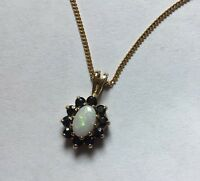 Hallmarked 9ct 9k Gold Opal Sapphire Cluster Pendant With HM 9ct Gold Curb Chain