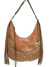 New Michael Kors Rhea Studded MD Slouchy Shoulder bag fringe embellished $448