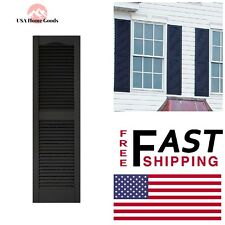 Black Louvered Vinyl Exterior Shutters Pair 15 in. x 52 in.Window Edge Decor