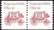 US - 1982 - 4 Cents Reddish Brown 1890's Stagecoach #1898A Plate #1 Pair Fine-VF