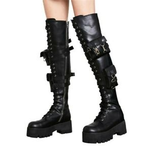 35/45 Women's Biker Motorcycle Thigh High Over The Knee Boots Outdoor Winter L