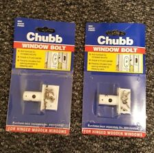 Set of 2 White Chubb Window Bolt for Hinged Wooden Windows