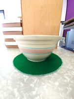 OVENWARE STONEWARE LARGE KITCHEN BOWL WITH PINK STRIP AND BLUE #12 USA