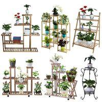 Wood Bamboo Metal Shelf Flower Pot Plant Stand Rack Garden Indoor Outdoor Patio