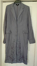 New 16-18 Long Tall Sally Wedgewood Blue Embroidered Long line Jacket Coat