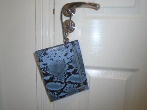 Smokey blue and black snakeskin print small clutch bag, NEW