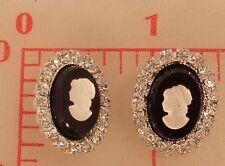 "2 vintage oval rhinestone black & silver Czech shank buttons cameo 3/4"" 20mm 103"