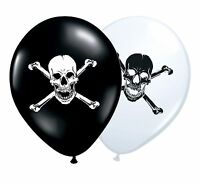 """Pirate Skull & Bones 12"""" Black and White Assorted Latex Balloons 1-100ct Party"""