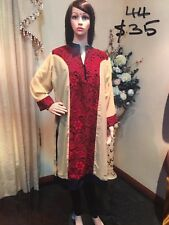 "44"" XL New Beige Maroon Jeans Top Kurti Tunic Kaftan Bollywood Indian Kurthi K11"