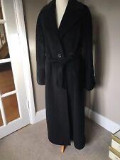 Femmes Italien noir laine vierge/cachemire long manteau d'hiver-tadon Large 16/18