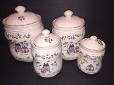 International Heartland 4 pc. Canister Set Stoneware Farm Scene- Made In Taiwan